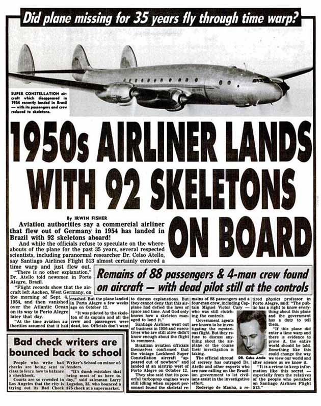 サンチアゴ航空513便事件を当時唯一報じたネタ記事『Weekly World News』1989年11月14号