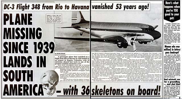 消失から53年後に現れたというフライト348便事件を報じるネタ記事 『Weekly World News』1992年5月26号