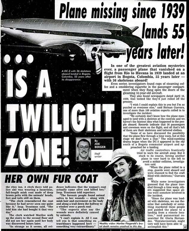 ちゃっかり55年後の94年に現れたことになっている記事 『Weekly World News』1994年7月5日号